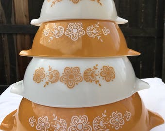 Vintage Pyrex Butterfly Pattern Nesting Cinderella Mixing Bowls #441, 442, 443 and 444.