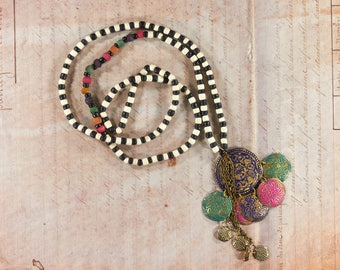 Necklace, long necklace, colorful necklace, wooden Bead Necklace, tassel necklace