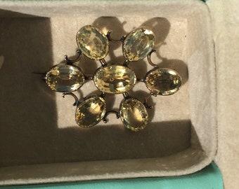 Antique Georgian Victorian 14k Rose Gold Yellow Topaz Flower Brooch Pin