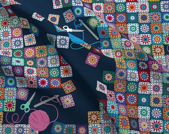 Granny Square Fabric - What Granny Taught Me. By Abbieuproot - Granny Square Knit Scissors Yarn Cotton Fabric By The Yard With Spoonflower