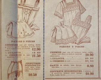 Antique French Shop Brochure Catalog 1910 1920s fashion underwear lingerie nightdresses white household linens - vintage store sale flyer