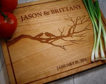 Personalized Cutting Board - Love Birds - Wedding Gift - Fiance - Anniversary - Custom Cutting Board - Girlfriend Gift - Fiance Gift