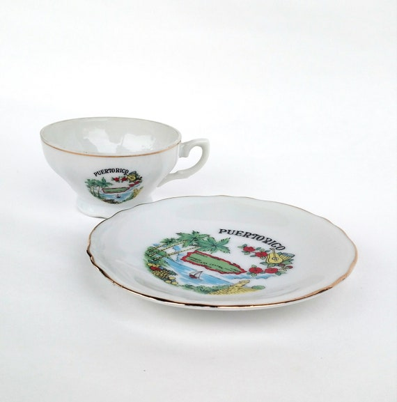 Vintage Souvenir Puerto Rico Tea Cup and Saucer Set
