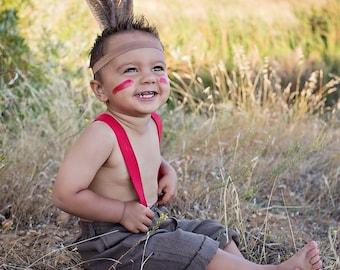 Indian headband pocahontasIndian headress feather headband indian costumebrown headbandany sizephoto prop  sc 1 st  Etsy & 1910s Native American Chippewa Indian Headress Original Can