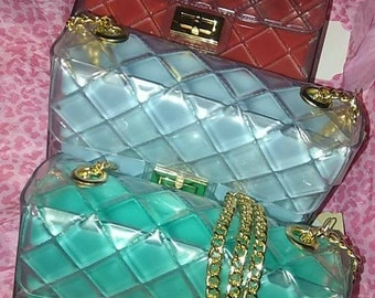 Clear Jelly purses with gold chain strap