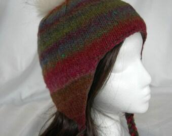 Noro Kureyon Earflap hat hand knit fleece lined fur pompom westbyron hat
