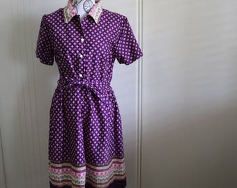 Vintage 1950s purple shirtwaist dress