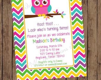 Printed Girls Chevron Owl Birthday Invitations, Any Age  - 1.00 each with envelope