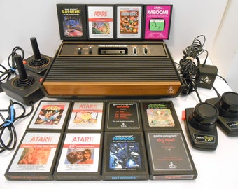 """1980s """"Very Good Condition"""" Atari CX-2600A 4 Switch """"Woody"""" Video Computer System with Cords, Plugs, Controllers and 12 Games"""