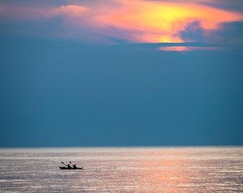 Color Photo Sunset Wall Art Home Decor Lake Erie Kayaker