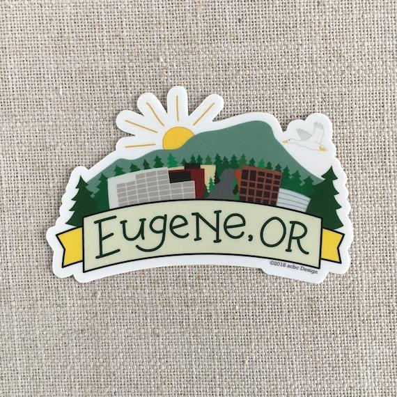 Eugene oregon vinyl sticker downtown eugene or skinner