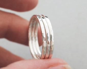 Sterling Silver Rings three 14 gauge Silver Stacking Rings thumb ring, midi ring, pinky ring or knuckle ring