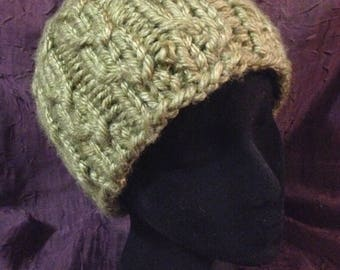Acorn Hat, a soft and warm handknit, fitted beanie or cap in machine washable and vegan bulky acrylic