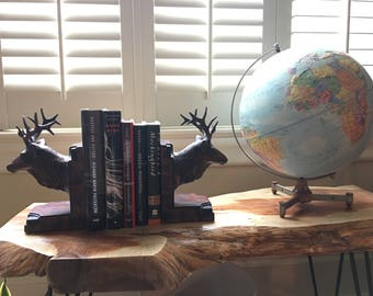 Bull or Stag Elk Bookends Made of Burlwood Heavy Resin