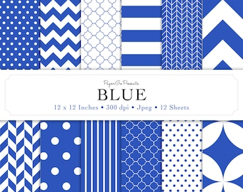 """Basic Patterns """"Blue"""" Digital Paper  • Instant Download • Scrapbooking Supply • High Quality •  Digital Paper Pack • Commercial Use"""