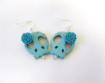 Sugar Skull Earrings Day Of The Dead Jewelry Turquoise Blue Flower