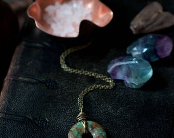 Chrysocolla pendant necklace, green gemstone donut, wire wrapped with oxidised sterling silver or brass, mineral amulet, feminine talisman.