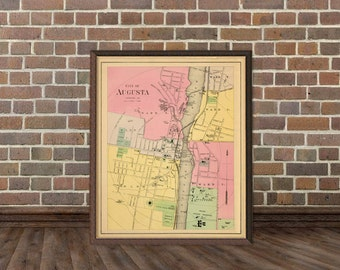 Augusta map - Vintage map of  Augusta (Maine) archival print