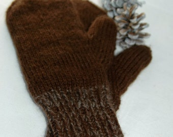 """Mittens for women - hand knit in qiviut (inner layer) and royal alpaca (outer layer) """"Mount Garibaldi"""" MADE TO ORDER"""