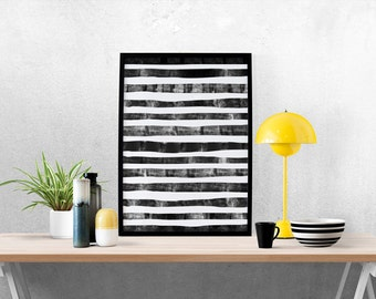 Pattern Print, Geometric Prints, Minimalist Abstract Art, Geometric, Home Art, Nordic, Lines, Black and White, Watercolor, Scandinavian