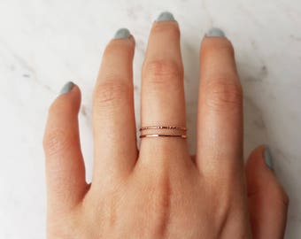 Ultra thin rose gold ring, set of 2//14k rose gold fill ring, hammered rose gold ring, lined ring, stacking rings, dainty ring, delicate
