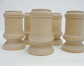 Wooden candle stick holders set of 5