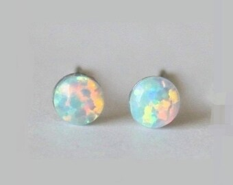 Tiny 4mm Opal Stud earrings, hypoallergenic Titanium Earrings, white Opal post studs, opal gemstone, sensitive ears, Small opal earring