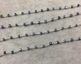 Silver Plated Copper Rosary Chain with Faceted 3-4mm Rondelle Shape Mystic Coated Blue/Gray Quartz Beads - Sold by the Foot (CH152-SV)
