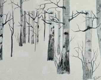 Gallery wrapped canvas aspen tree original landscape winter landscape oil painting fine art painting original black and white mono tone