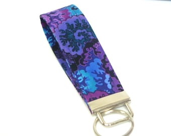 Wristlet Key Fob / Key Chain Key Holder Blue and Purple Sea Coral