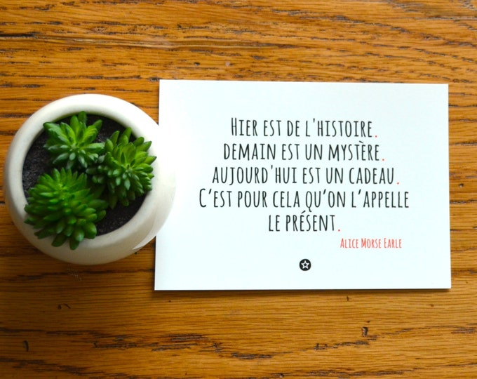Card with Gift Quote by Alice Morse Earle in French