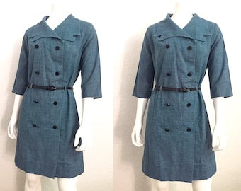 Vintage Dress / Trench Coat Dress / 80s Dress / 1980s Dress / Denim Dress / Blue Dress / Medium Dress / Large Dress / Belted Dress