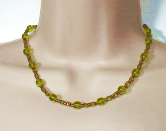 Glass Bead Necklace.  Green and Topaz Colourr