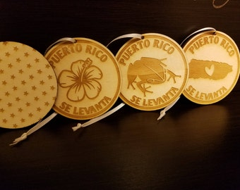 Puerto Rico Se Levanta Ornament, laser cut acrylic & wood ornaments
