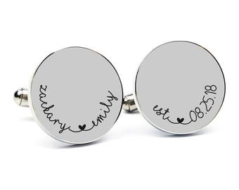 Gift for Groom From Bride Personalized Cufflinks Engraved Cufflinks Round Cufflinks Cuff link Gift for Him Groom Gift Anniversary Gift 2