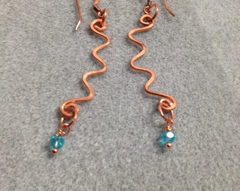 Hand formed, hammered raw copper dangle earrings