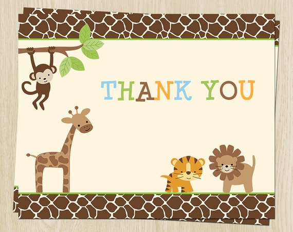 Relatively Birthday Thank You Cards Baby Shower Jungle Safari PK63