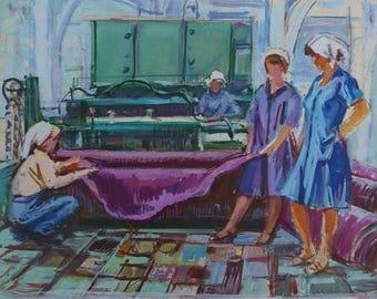 Soviet seamstress,Soviet youth,Socialist Realism,collective farm,kolkhoz,original painting,Usikova E. Sketch of 24-32 kg. 70e 0.15
