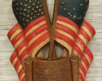 """Vintage 1959 Sexton Patriotic Wall Hanging Depicting a Flag with 49 Stars and another with 13 Stars. Also, the Pledge of Allegiance. 14""""×7"""""""