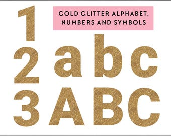 gold glitter alphabet clip art graphics, digital alphabet clipart, numbers, glitter, commercial use, alphabet clip art instant download