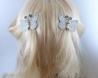 Butterfly clips anti-slip white ivory silk pearls and antennas black metal body, Ombre, spring - Apolline - made in France