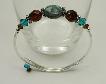 Stacking Bracelet, Bangle Bracelet Stacking Bangle Bracelet, Semi Precious Bracelet Blue Bracelet Brown Bracelet, Boho Jewelry Boho Bracelet