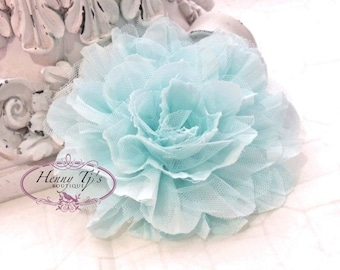 NEW! One Large Shabby Chic Frayed Wrinkled Cotton Voile and Tulle Rose Fabric Flower - PALE AQUA