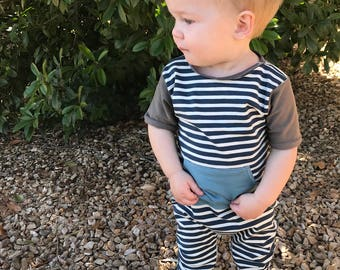 Baby navy striped romper- Toddler navy striped romper- Baby outfit- Toddler outfit- Harem romper- Coming home outfit- Gender neutral romper