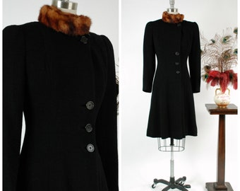 Vintage 1930s Coat -  Rare Late 30s Exquisite Black Wool Boucle Princess Coat with High Fur Collar