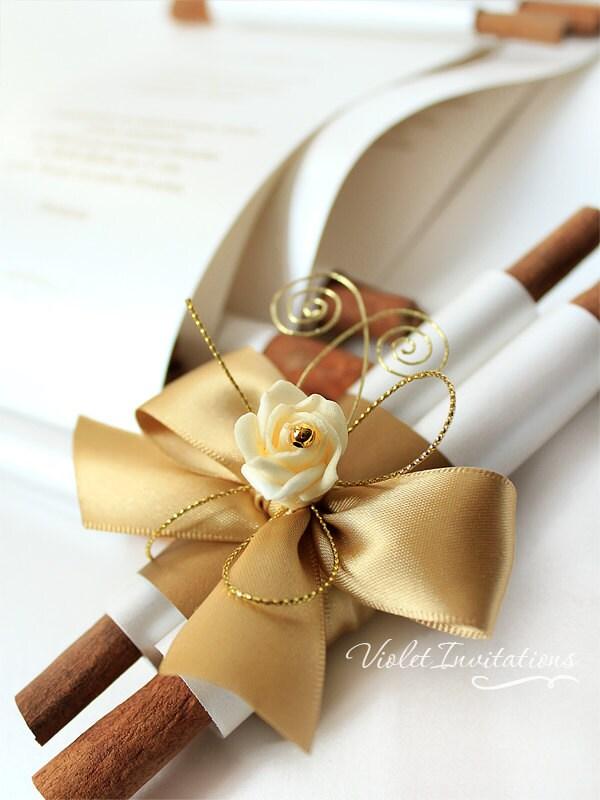10 Handmade Gold Ivory Rose Scroll Wedding Invitations