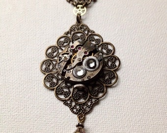 Lacy brass steampunk necklace