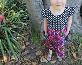 African Wax Print Girls Dress with Pockets