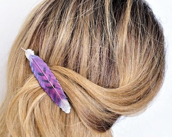 Feather Hair Barrette Large, French Barrette Purple feather, Feather Hair clip, Feather Hair jewelry