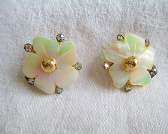 Vintage Earrings Carved Mother Of Pearl Flower with Rhinestones Earrings Simply Stunning! They Just glitter! Sparkle
